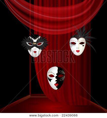 black-red box and three black-white carnival mask