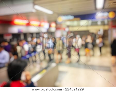 Blurred Image Of Car On Evening Treaffic Jam Hour In Bangkok Thailad With Electric Sky Train Station