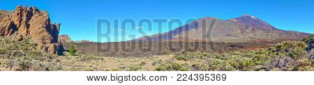 Panorama of rocks, desert and The Teide volcano in Tenerife,  Canary Islands