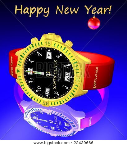 Santa Claus Clock. New Year 2012