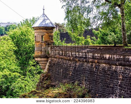 Luxembourg Old Medieval City With Surrounding Walls In Spring