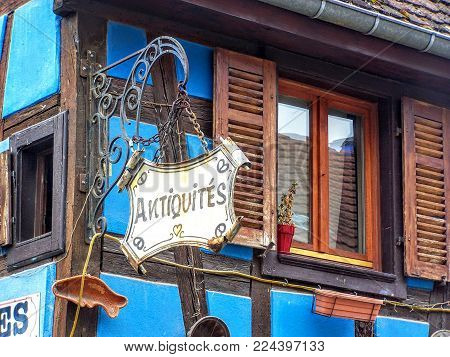 Antiquities - Antiques Shop Sign. Alsace, France, Europe