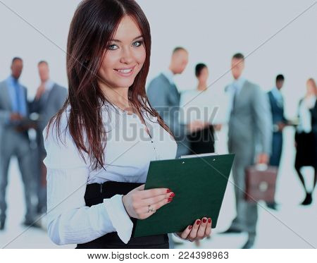 business woman leading her team isolated over a white background.