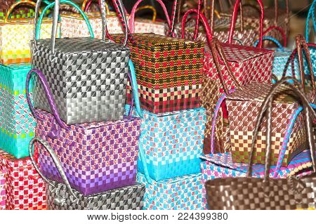 Bangkok,thailand-january 27,2017 : Group Of Traditional Picnic Plastic Basket Showing In Participant
