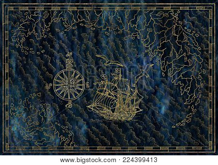 Old nautical map with pirate ship, compass and treasure island on blue texture. Pirate adventures, treasure hunt and old transportation concept. Hand drawn engraved illustration, vintage background