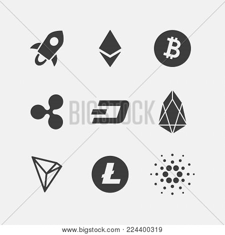 Cryptocurrency vector icon set black logo isolated on white. e-currency, payment, crypto currency, cryptocurrency, blockchain sign collection. Flat adaptation design for web site, mobile app, EPS