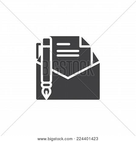Write a message icon vector, filled flat sign, solid pictogram isolated on white. Letter writing symbol, logo illustration.