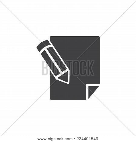 Pencil writing on paper sheet icon vector, filled flat sign, solid pictogram isolated on white. Write, sign symbol, logo illustration.