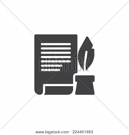 Ink feather pen and scroll paper icon vector, filled flat sign, solid pictogram isolated on white. Write will testament symbol, logo illustration.