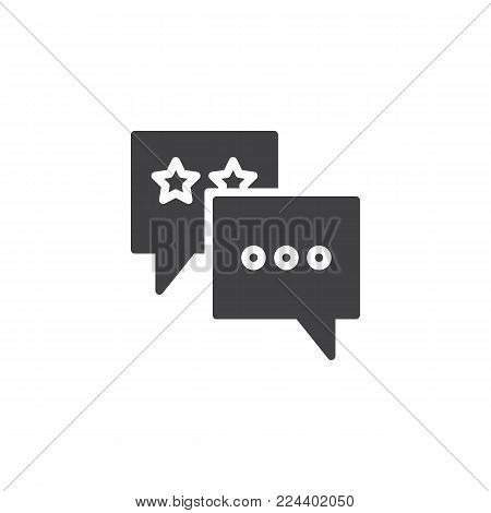 Favorite chat icon vector, filled flat sign, solid pictogram isolated on white. Speech bubble with stars symbol, logo illustration.