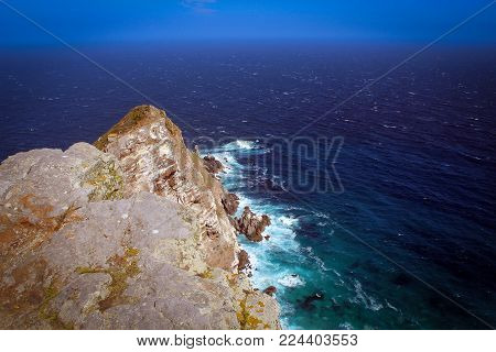 Cape Point View With Deep Blue Atlantic Ocean, South Africa