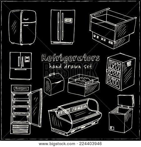 Hand Drawn Doodle Refrigerator Set. Vector Illustration. Isolated Elements On Chalkboard Background.