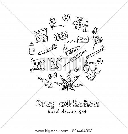 Hand Drawn Doodle Drug Addiction Set. Vector Illustration. Isolated Elements On White Background. Sy