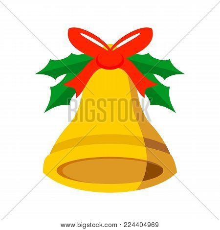 Jingle Bell Ribbon Vector Graphic Illustration Sign Symbol Design