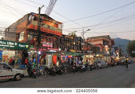 Pokhara Nepal - November 6, 2017: Unidentified People Visit Shopping Street In Pokhara Nepal.