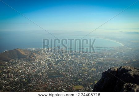 Breathtaking Atlantic Ocean coast view from Table Mountain, Cape Town, South Africa