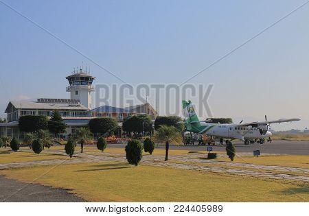 Pokhara Nepal - November 7, 2017: Unidentified People Take Flight At Pokhara Airport In Pokhara Nepa