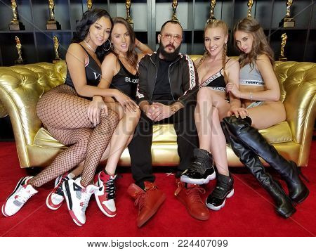 Harley Dean, Tori Black, Greg Lansky, Kendra Sunderland and Riley Reid at the 2017 AVN Adult Entertainment Expo held at the Hard Rock Hotel and Casino in Las Vegas, USA on January 20, 2017.