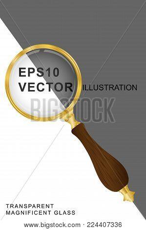 Magnifying glass transparent gold- vector illustration EPS10