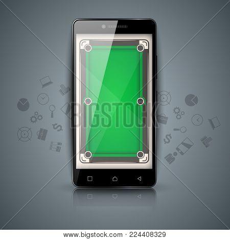 Digital gadget, smartphone - billiard illustration. Vector eps 10