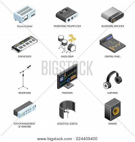 Communication devices and multimedia connection adapters for sound and video system appliances. Vector isolated icons of speaker, microphone and headphones amplifier, computer monitor and power source