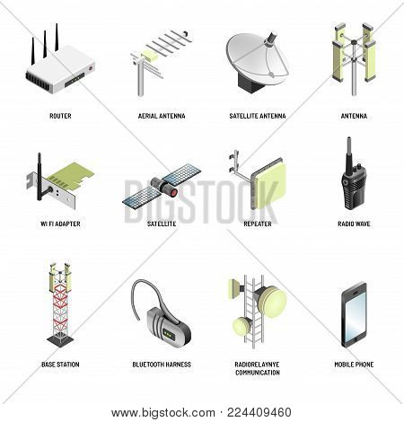 Digital communication and wireless connection devices of internet and multimedia data transmission. Vector isolated icons of satellite antenna, wi-fi router or modem and smartphone bluetooth headset