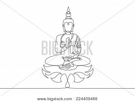 One continuous line drawn Buddha statue Buddhist character. Religious concept is a symbol of faith.Portrait of a prophet's face.