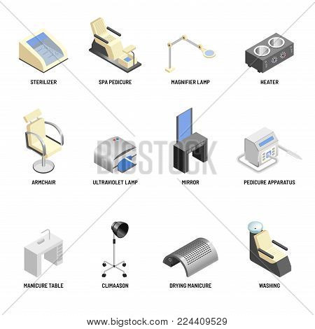 Cosmetology equipment vector icons set for cosmetic and skincare beauty salon. Manicure table and pedicure apparatus or hairdresser chair and mirror, heater and sterilizer lamp