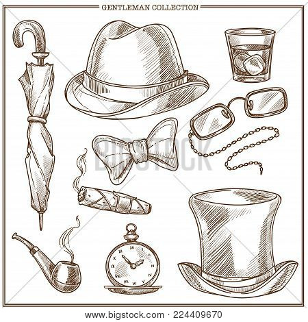 Gentleman clothes and accessories vector sketch icons collection. Retro isolated set of gentlemen classic club cylinder hat, umbrella and bow tie, whiskey glass and cigar or smoking pipe and glasses