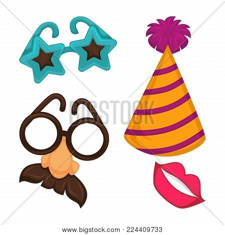Carnival masks or masquerade costume accessories. Vector isolated icons of festival star glasses or nose with mustaches, funny cap with pom-pom and lips for party and birthday celebration