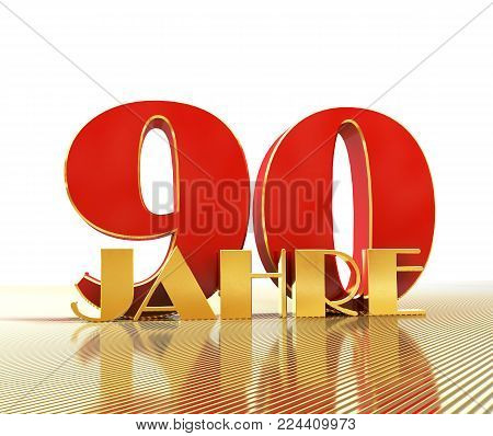 Golden number ninety (number 90) and the word