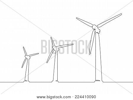 Continuous one line drawn silhouette of wind turbine alternative energy. The concept of the symbol of ecology and protection of nature.