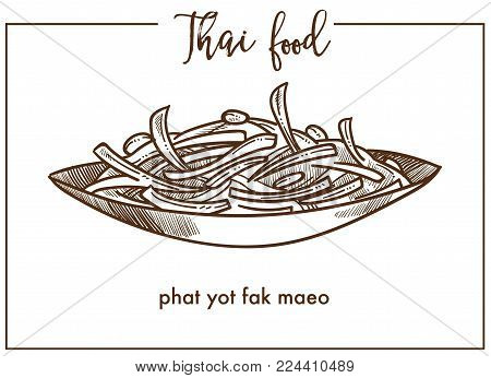 Phat yot fak maeo in bowl from Thai food. Young chayote shoots and leaves stir-fried with tasty oyster sauce or steamed isolated cartoon monochrome flat vector illustration on white background.