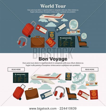 World tour and bon voyage promotional Internet posters with huge airline, baggage for travel, international passports, departures timetable, modern headphones and soft seats vector illustrations.