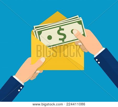 Hands businessman holding envelope with cash. Open envelope with money. Finance concept of corruption and bribery. Vector illustration in flat style