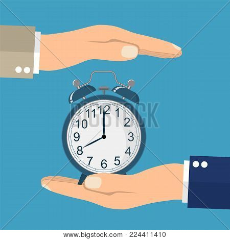 Save time concept. Businessman in hands is holding a watch, alarm clock. Controlling time. Successful strategy planning. Vector illustration in flat style
