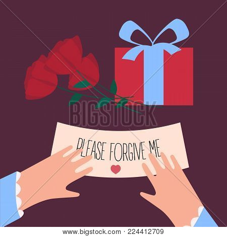 Woman fingers are holding note with please forgive me text. Roses and surprise gift box. Female with letter. Apology and excuse of a man. Vector illustration