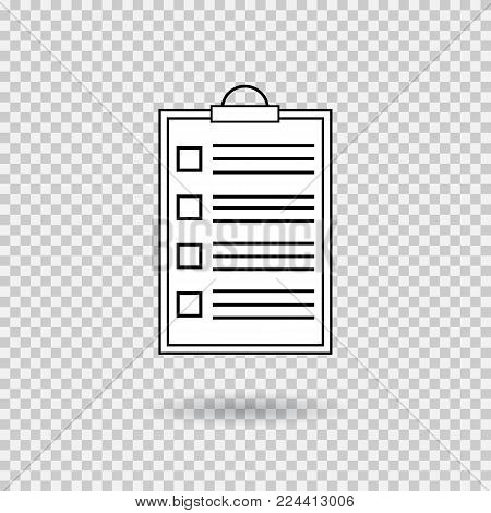 Ckecklist icon with shadow. Vector blank. Clipboard with empty checkboxes. Illustartion on transparent background.