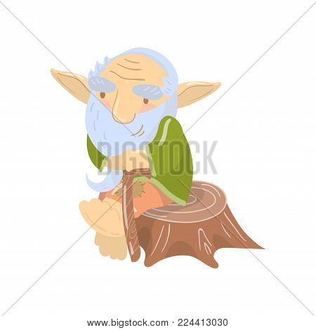 Cute old bearded troll character sitting on a stump, funny fairy tale creature cartoon vector Illustration on a white background