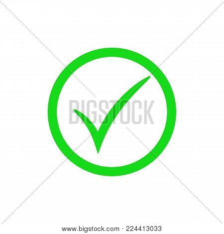 Green check mark icon. Vector checkmark button. Tick symbol. Illustration isolated on white background.