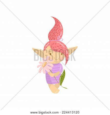 Cute troll girl character with camomile flower, funny creature with colored hair cartoon vector Illustration on a white background