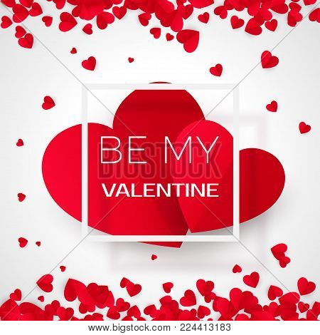 Amour valentine card with message - By my valentine. Holiday 14 february.  Vector illustration