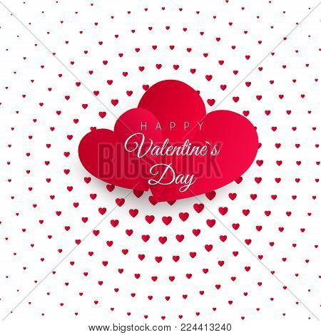 Valentine's day greeting card. Halftone Confetti red heart on white background with text Happy Valentines day. For design poster, wedding invitation, mothers day, valentines day, card. Vector