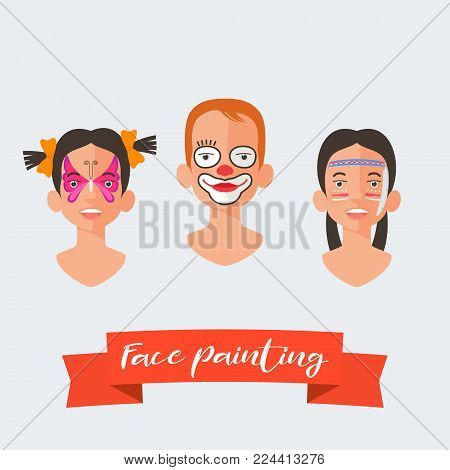 Children face painting collection of vector illustrations. Faces with different heros painted for kids party. Butterfly, clown drawing makeup