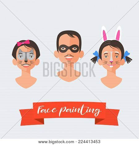 Children face painting collection of vector illustrations. Faces with different animals painted for kids party. Cat, rabbit drawing makeup