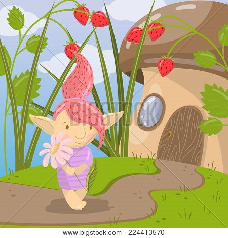 Cute troll girl character with camomile flower standing on the background of fairytale mushroom house colorful vector illustration in cartoon style.