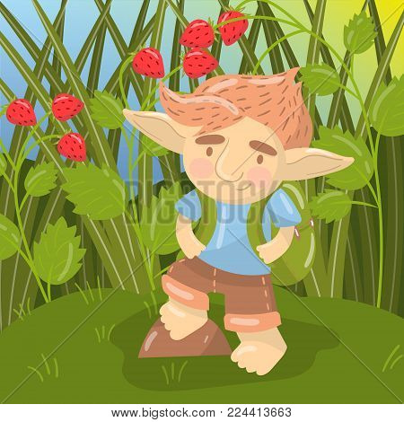 Cute troll boy character, funny creature standing with backpack on the backround of field of strawberry colorful vector illustration in cartoon style.