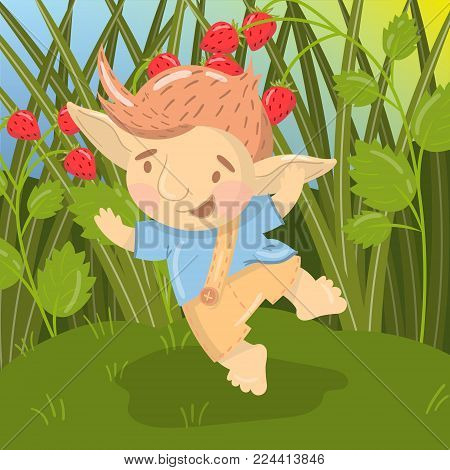 Cute smiling troll boy character, funny creature having fun and jumping on the backround of field of strawberry colorful vector illustration in cartoon style.
