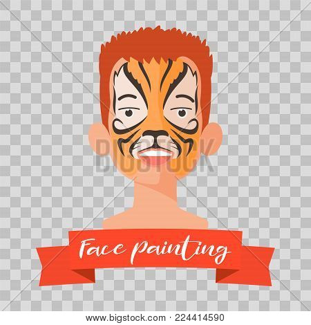 Kid with tiger face painting vector illustrations on transparent background. Child face with animal makeup painted for kids party