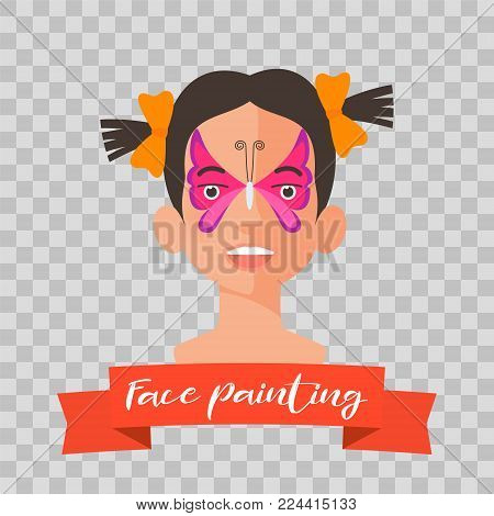 Children face painting vector illustrations. Girl face with butterfly painted for kids party. Drawing makeup on transparent isolated background